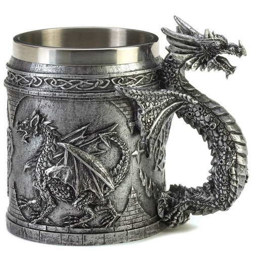 Pewter-Look Medieval Dragon Mug