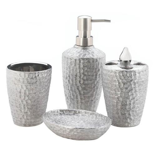 Hammered-Texture Silver Porcelain Bath Set