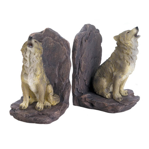 Howling Wolves Bookend Set