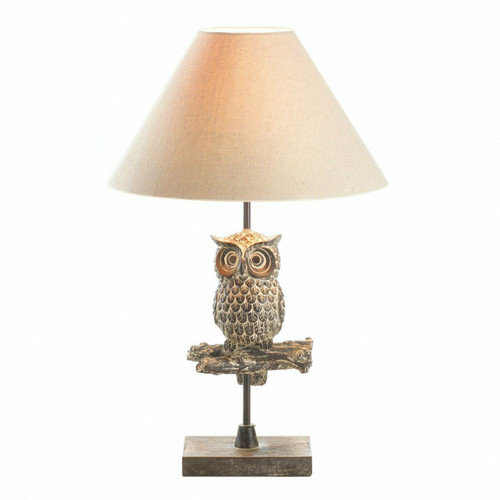 Wood Wise Owl Lamp with Fabric Shade