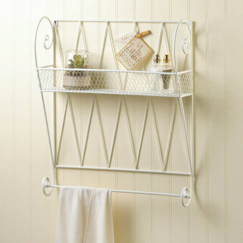 Scrolled White Wire Wall Shelf