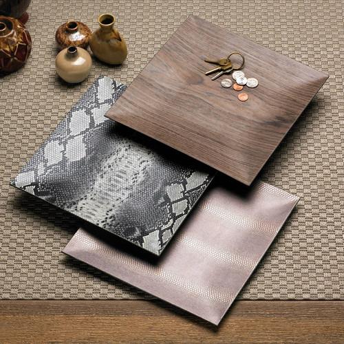Natural Patterned Square Decorative Plate Set