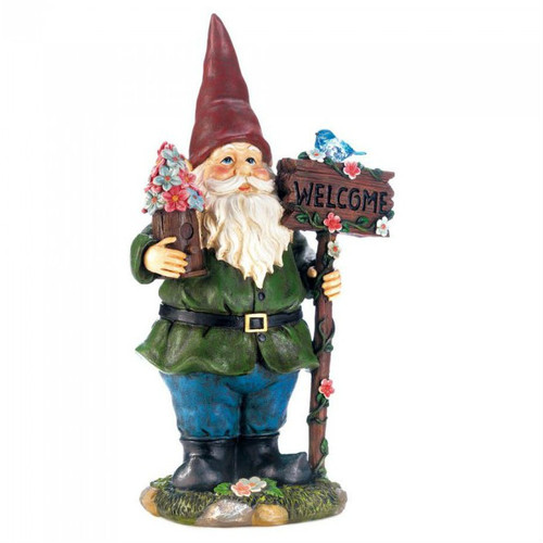 Solar Welcome Gnome with Light-Up Bluebird