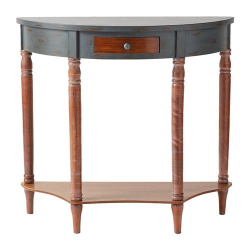 Vintage-Look Half-Moon Wood Hall Table