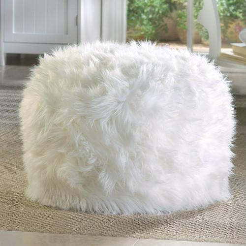 Furry White Ottoman Pouf or Seat