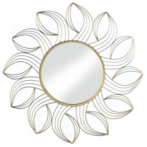 Metal Petals Golden Wall Mirror