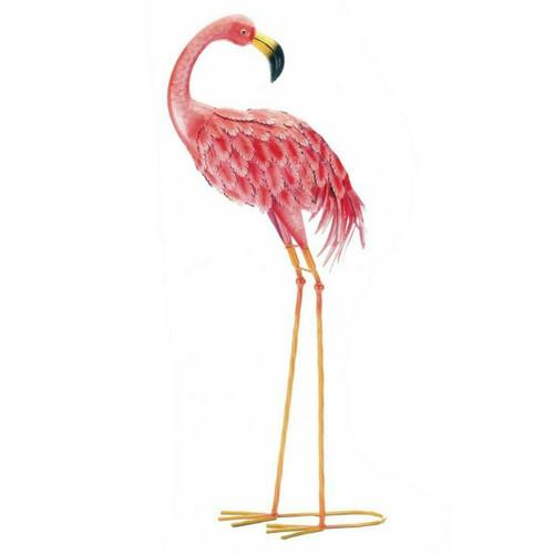 Bright Flamingo Yard Art - Looking Back