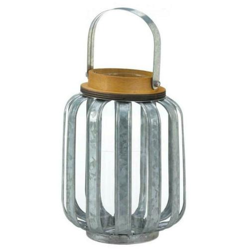 Galvanized Metal Slats Candle Lantern - 8 inches