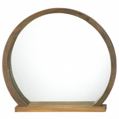 Round Wood Mirror with Shelf