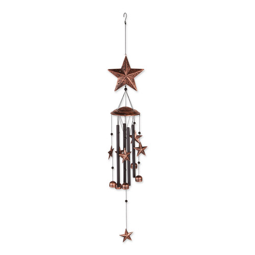 Bronze Wind Chimes with Stars and Bells - 34 inches