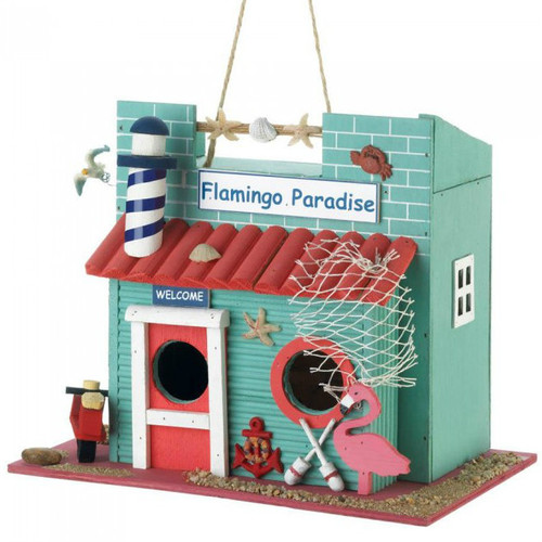 Flamingo Paradise Wood Bird House