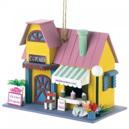 Cupcake Shop Wood Bird House