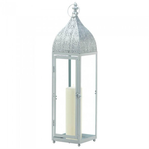 Silver Moroccan-Style Candle Lantern - 24 inches