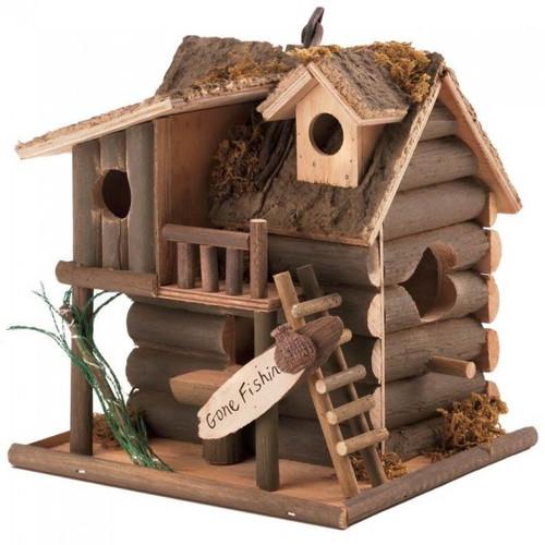Log Cabin Gone Fishin' Birdhouse