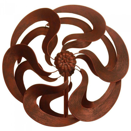 Bronze-Look Flower Garden Windmill Stake - 75 inches