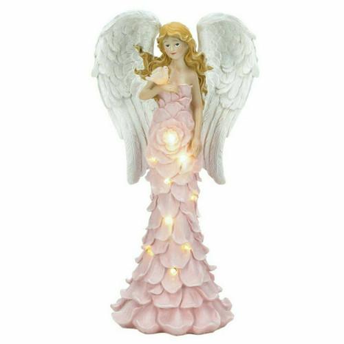 Solar Light-Up Pink Rose Angel Garden Statue