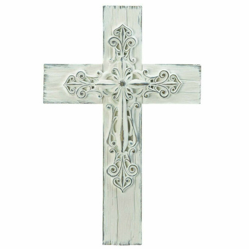 Ornate Rustic Whitewashed Wall Cross