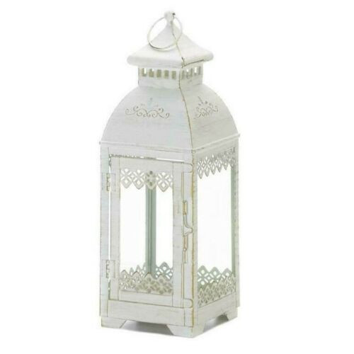Victorian Style Square White Candle Lantern - 13 inches
