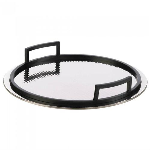 Rippled Mirrored Aluminum Serving Tray - Circle
