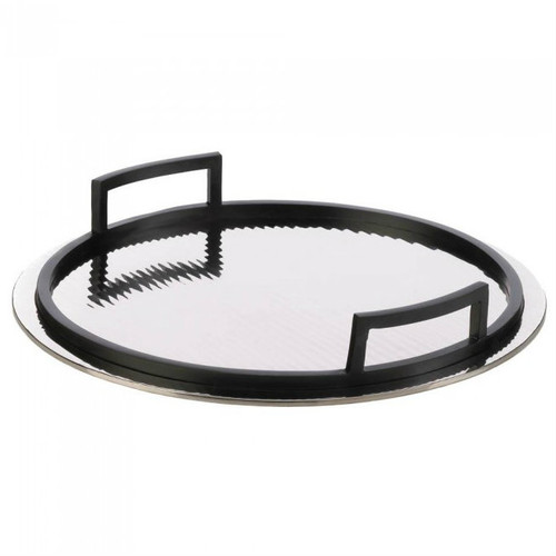 Rippled Mirrored Aluminum Serving Tray - Circle