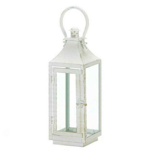 Distressed White Metal Candle Lantern - 12 inches