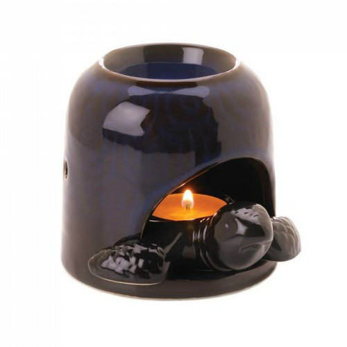 Dark Blue Porcelain Turtle Oil Warmer