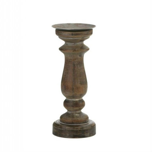 Antique-Style Wood Pillar Candle Holder - 11 inches
