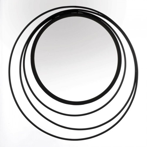 Circles in Circles Black Metal Wall Mirror