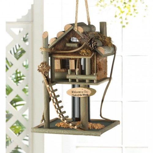 Log Cabin Treehouse Bird Feeder