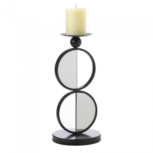 Half-Circle Mirrored Candle Holder - Double