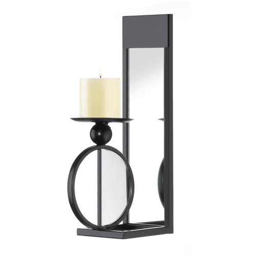 Half-Circle Mirrored Candle Sconce