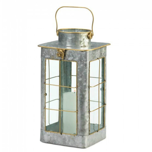 Farmhouse Galvanized Metal Candle Lantern - 14 inches