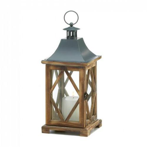 Diamond-Side Wood Candle Lantern - 14 inches