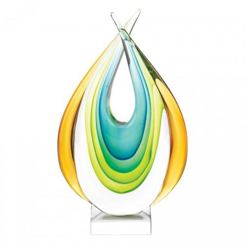 Crossed Teardrop Art Glass Sculpture