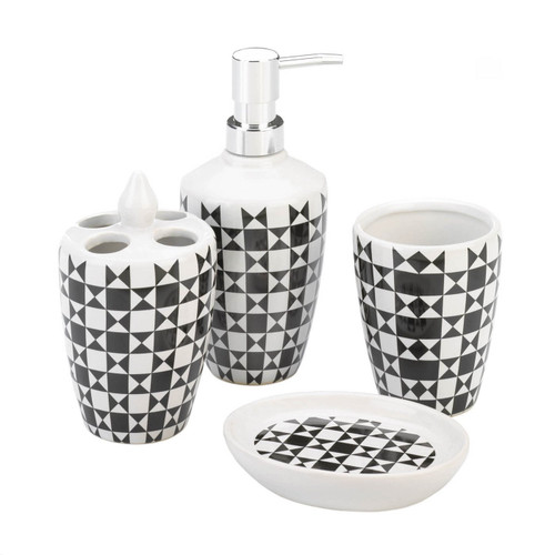 Black and White Geometric Bath Accessory Set