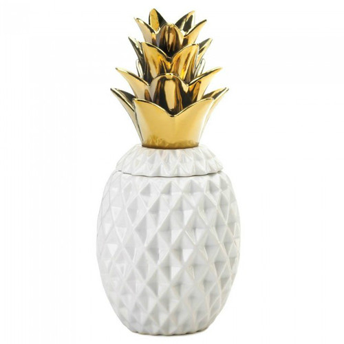 Porcelain Pineapple Jar with Gold Leaves