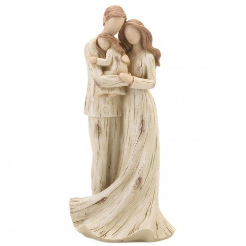 Parents and Daughter Carved-Look Figurine