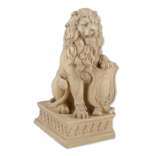 Lion with Shield Garden Statue - Ivory