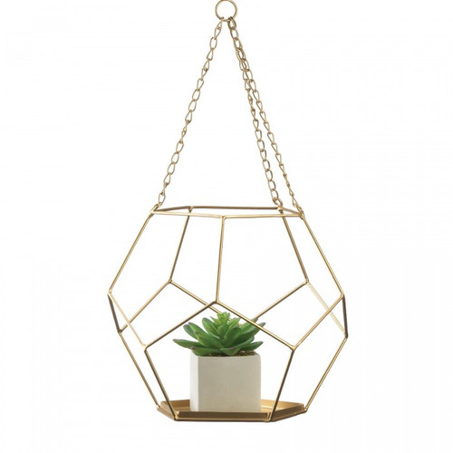 Golden Metal Geometric Prism Hanging Plant Holder