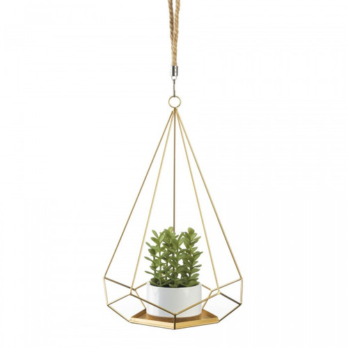 Golden Metal Prism Hanging Plant Holder