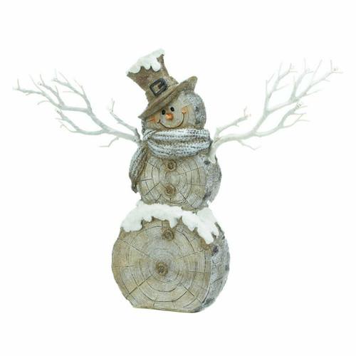 Rustic Birch Tree Snowman Figurine with Twig Lights