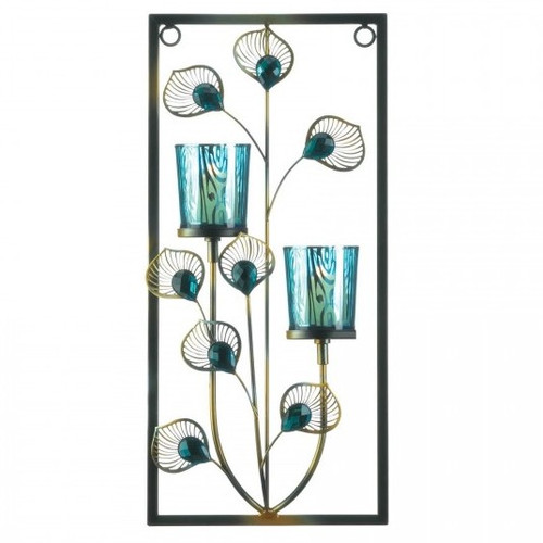 Peacock Rectangular Wall Sconce - Two Candles