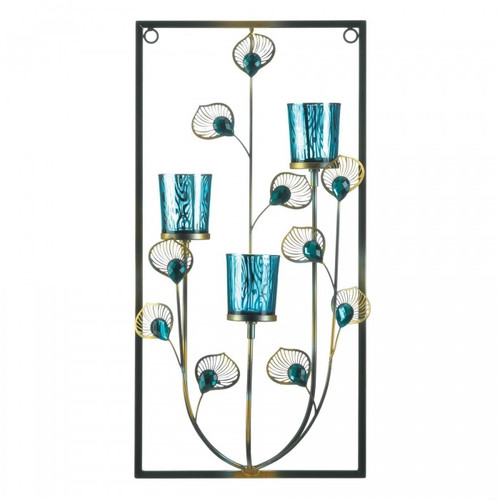 Peacock Rectangular Wall Sconce - Three Candles