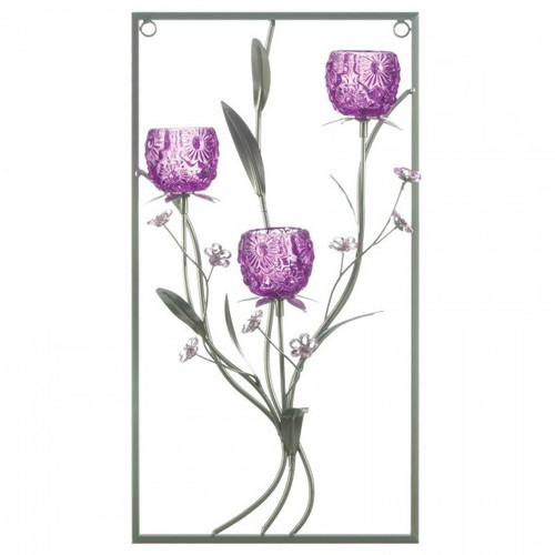 Purple Flower Rectangular Wall Sconce - Three Candles