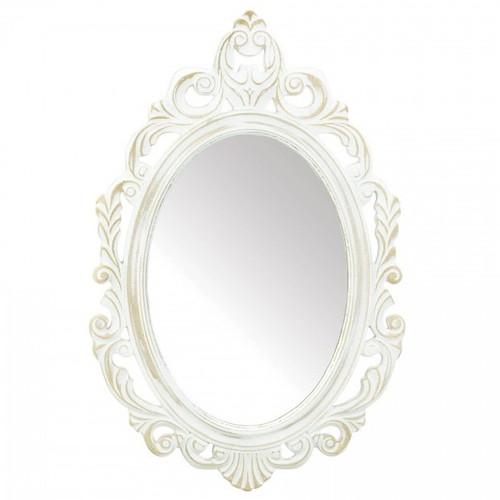 Distressed Vintage-Look Ornate White Mirror