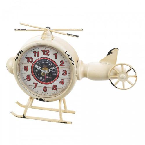 Vintage-Look Desk Clock - White Helicopter