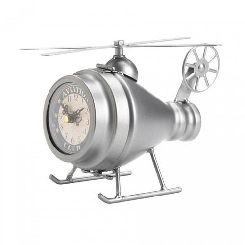 Vintage-Look Desk Clock - Silver Helicopter