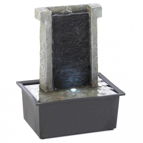 Lighted Stone Wall Tabletop Water Fountain
