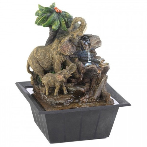 Elephants and Palm Tree Scene Tabletop Water Fountain