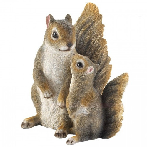 Mommy And Baby Squirrel Garden Figurine